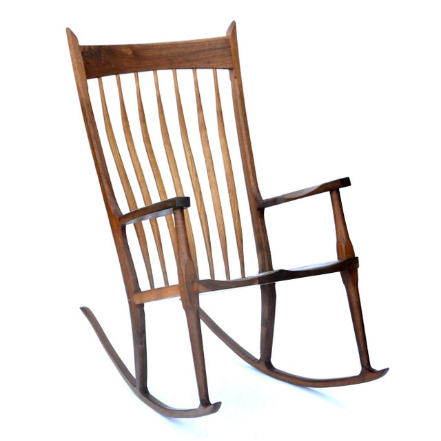 Hand-Crafted Wooden Rocking Chair For Sale - Image 9 of 9