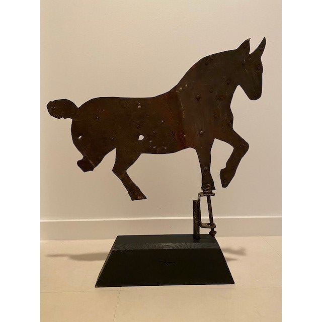 Beautiful Primitive Antique Horse Weather Vane on Dark Wood Base. Made of Iron. Large enough to add an great accent to an...