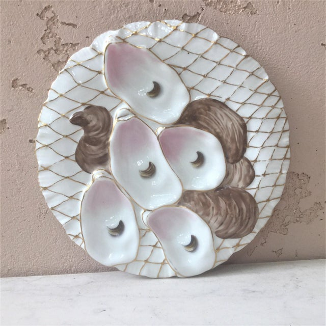 Limoges French Oyster Plate Porcelain With Turkey Pattern For Sale - Image 12 of 12