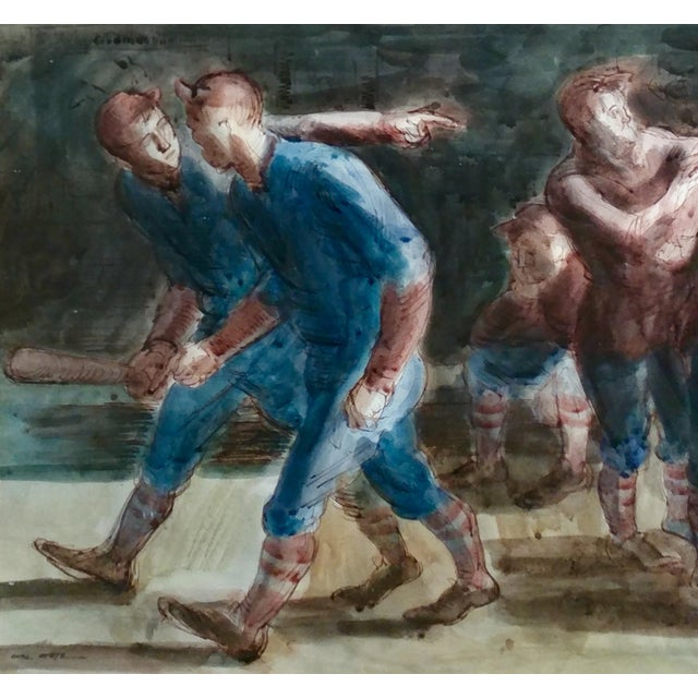 Carl Hugo Beetz- Taking the Baseball Field - Mix Media Painting- c1939 For Sale - Image 5 of 10