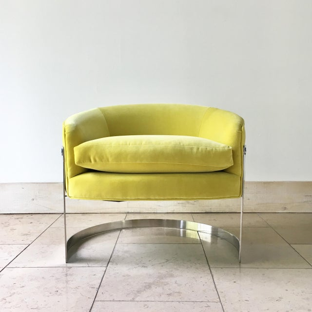 Pair of Milo Baughman Chromium Steel Framed Tub Chairs 1970s For Sale - Image 6 of 9