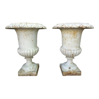 19th Century French Cast Iron Campana Urns - a Pair For Sale