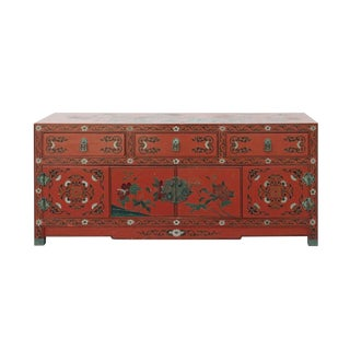 Chinese Oriental Distressed Red Scenery Graphic Low Cabinet