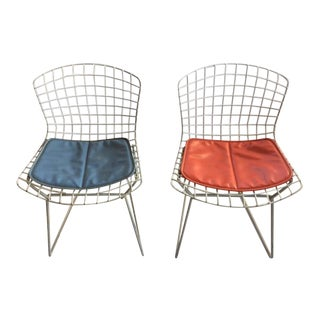 Child's Size Bertoia Chairs With Original Cushions - A Pair
