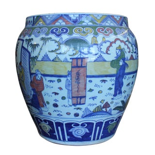 Chinese Oriental Porcelain Planter For Sale