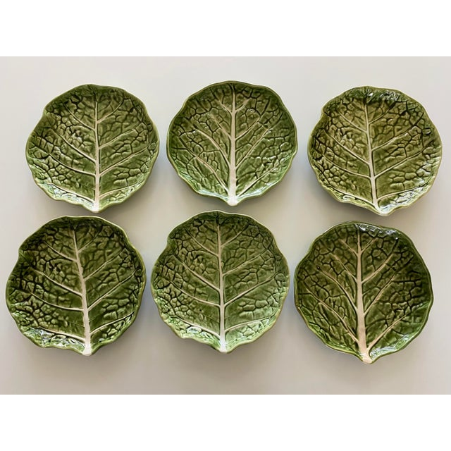 Mid 20th Century Green Cabbage Leaf Plates Portugal - Set of 6 For Sale - Image 9 of 13