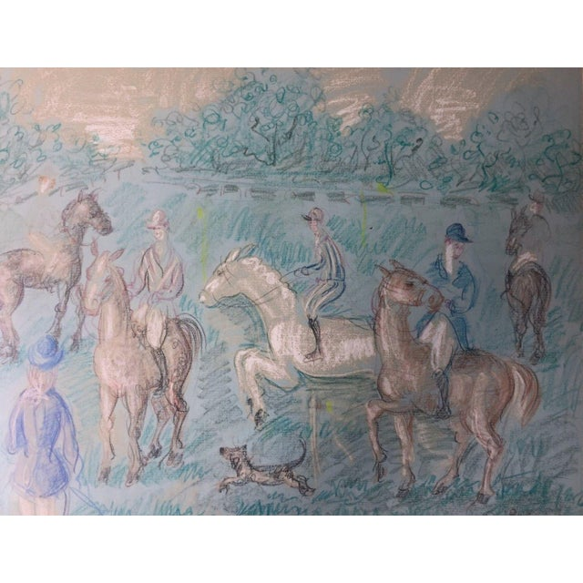 Paper 1950s Vintage French Hunting Scene Drawing For Sale - Image 7 of 9