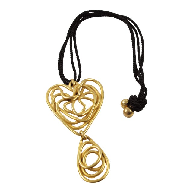 Balenciaga Paris Pendant Necklace Gilt Metal Wired Dangling Spiral For Sale