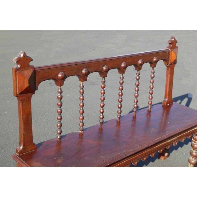 Vintage Spanish Colonial Style Carved Wood Spindle Bench Settee - Image 6 of 10