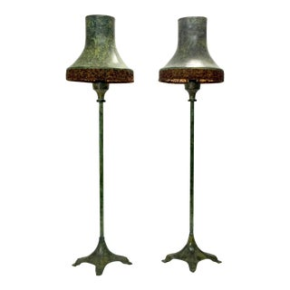 Metal Hearth Lapms, a Pair For Sale