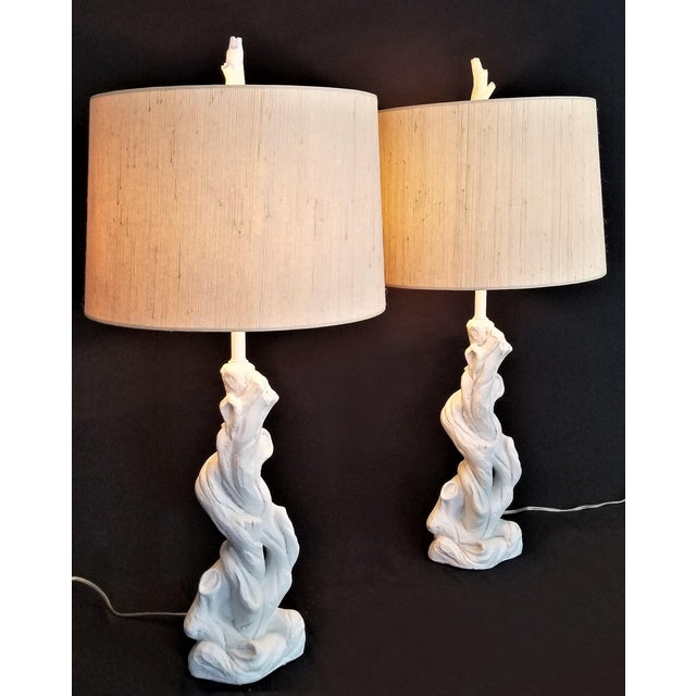 Boho Chic Faux Bois Solid White Plaster Tree Table Lamps -A Pair - Authentic 1950s - Serge Roche Style - Palm Beach Boho Chic For Sale - Image 3 of 12