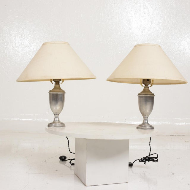For your consideration, Hollywood Regency Pair of Petite Table Lamps in Aluminum. Made in the USA circa the 1960's....