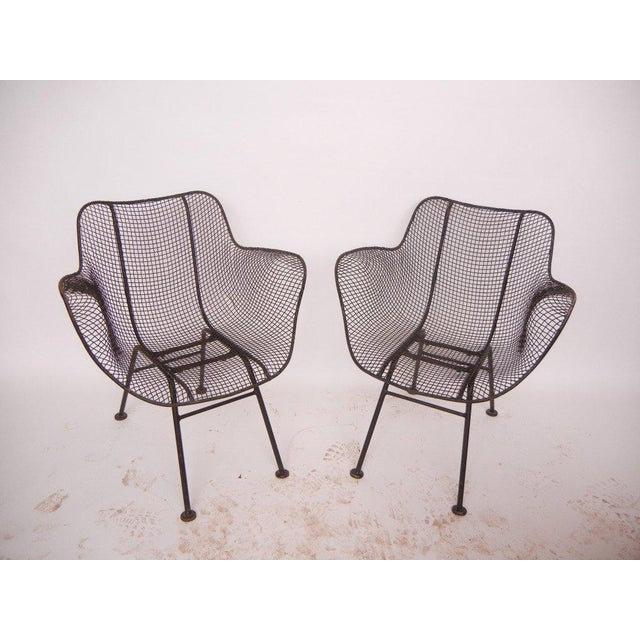 Russell Woodard Russell Woodard Mid-Century Modern Wrought Iron & Mesh Chairs For Sale - Image 4 of 4