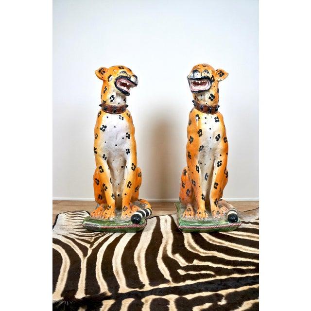 Italian Mid-Century Italian Ceramic Cheetah Statues - Pair For Sale - Image 3 of 8