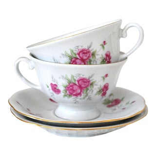 1960s Shabby Chic Rosebud Teacups and Saucers - Service for 2 For Sale