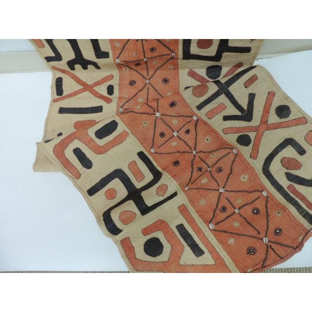 Large Vintage African Applique Ceremonial Applique Kuba Raffia Skirt Panel For Sale - Image 4 of 7