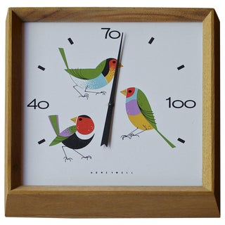 1960s Charley Harper Birds Enameled Thermometer Walnut Wall Temperature Gauge For Sale