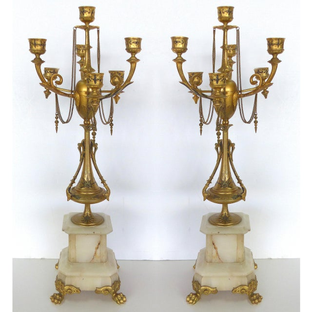 1800s Neoclassical Dore Candelabras - A Pair - Image 2 of 10
