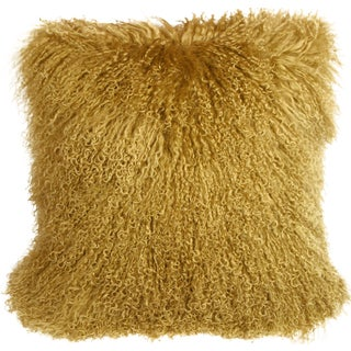 Mongolian Sheepskin Gold Throw Pillow For Sale