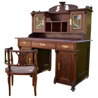 1900 Art Nouveau Carved Walnut Cabinet / Desk and Armchair For Sale
