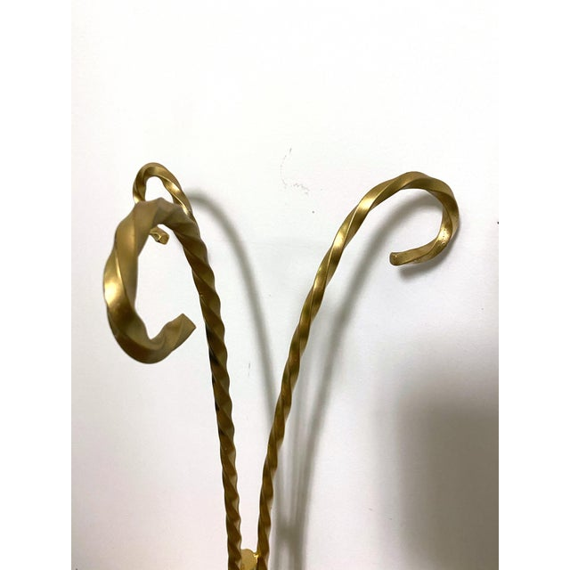 Art Nouveau Vintage Gold Toned Twisted Iron Plant Stand For Sale - Image 3 of 5
