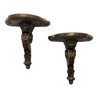 Pair of Gold Leaf Decorative Wall Brackets For Sale