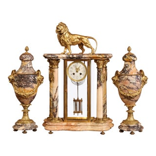 19th Century French Marble and Bronze Mantel Clock With Matching Cassolettes