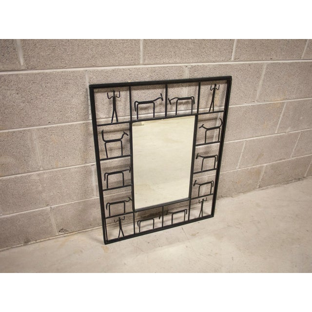 Mid-Century Modern Vintage Frederick Weinberg Style Iron Mirror For Sale - Image 3 of 6