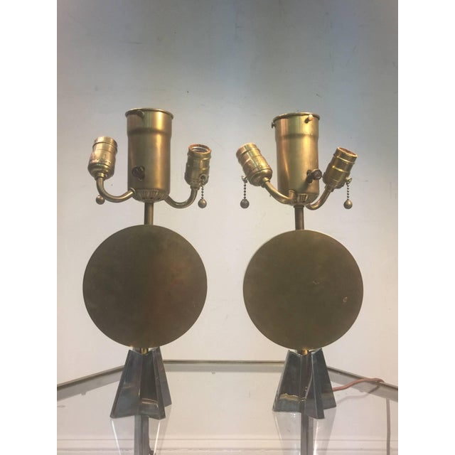 Pair of Art Deco cubist lamps with solid bronze disc centre mounted on a star base of nickelled bronze. Very substantial...