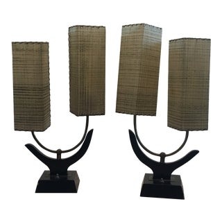 1950s Space Age Majestic Lamps with Fiberglass Shades - a Pair