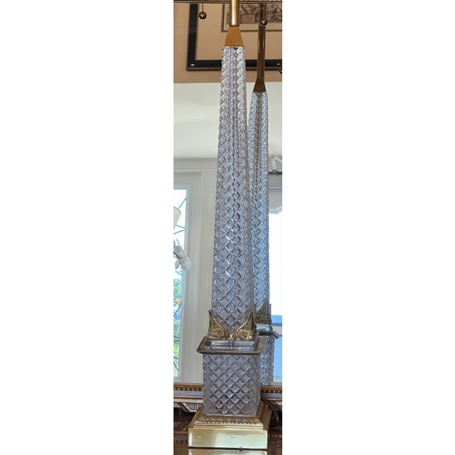 Mid 20th Century Massive Baccarat French Crystal Obelisk Table Lamp For Sale - Image 5 of 8