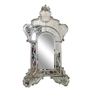 Murano Venetian Mirror With Etched Glass For Sale