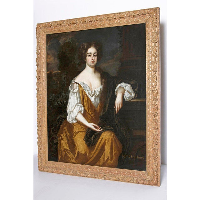 18th Century English Portrait of Mrs. Overbury Circle of Sir Godfrey Kneller For Sale - Image 4 of 13
