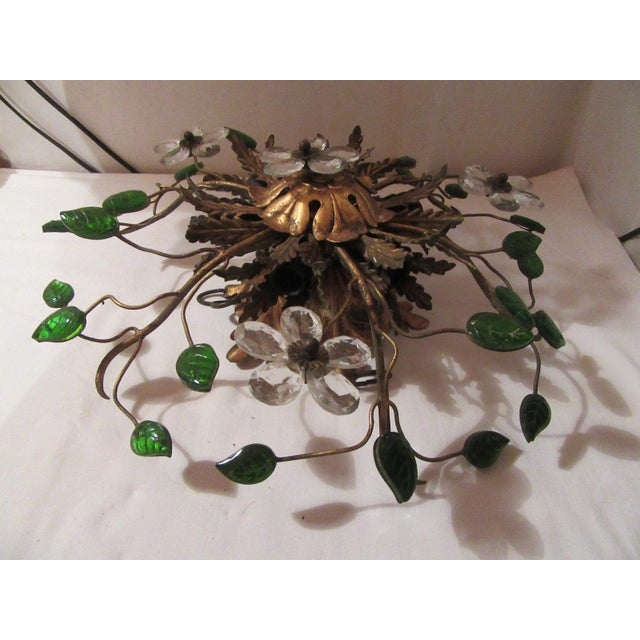Green C. 1950's Mid Century Authentic French Maison Bagues Ceiling Mount Light Fixture For Sale - Image 8 of 13