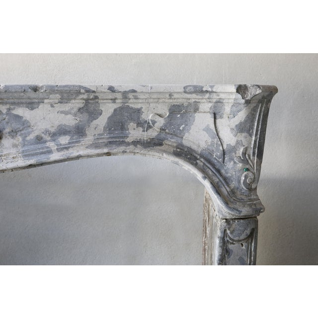 Antique Gray Marble Stone Fireplace, 19th Century, Louis XV For Sale - Image 4 of 7