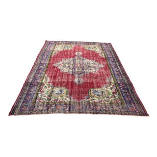 Turkish Tribal Distressed Wool Area Rug - 7′5″ × 9′10″ For Sale