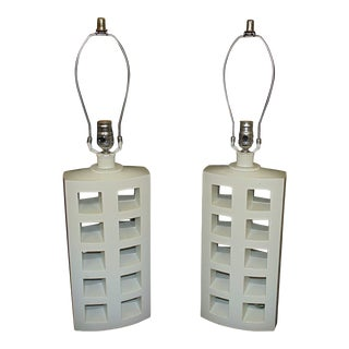 Mid Century Modern Geometric White Table Lamps - a Pair For Sale