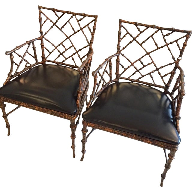 Chippendale Style Painted Iron Chairs - A Pair - Image 1 of 7