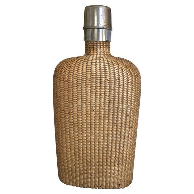 Wood English Summer Rattan Covered Flask with a Brass Top, 19th Century For Sale - Image 7 of 7