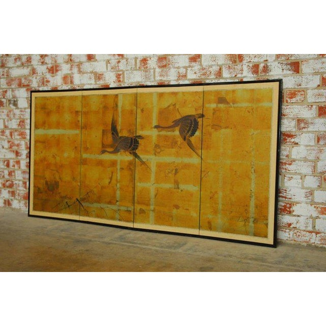 Japanese Four-Panel Byobu Screen Autumn Geese For Sale - Image 5 of 11