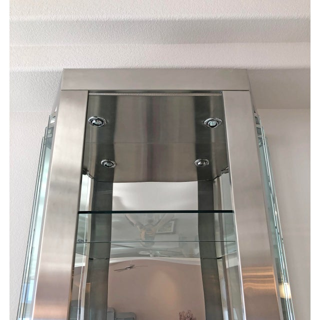 Pair of Modernist Rougier Stainless and Glass Shelving Vitrines For Sale In Las Vegas - Image 6 of 7