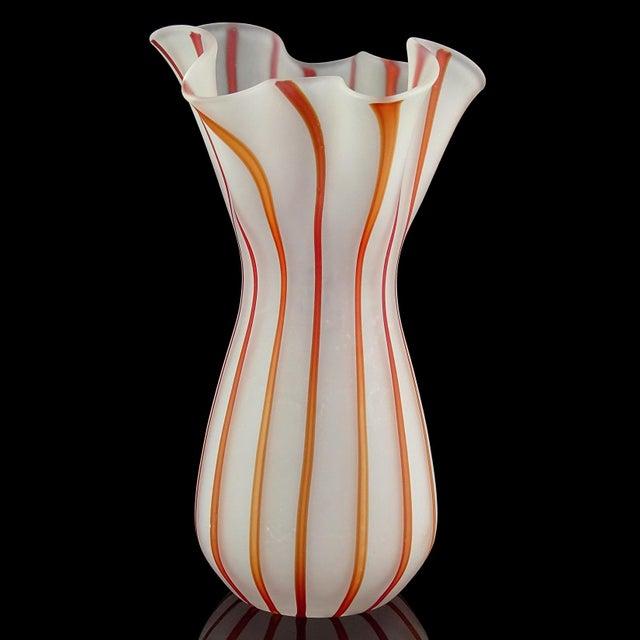 Murano Vintage White Red Orange Stripes Satin Surface Italian Art Glass Flower Vase For Sale - Image 4 of 7