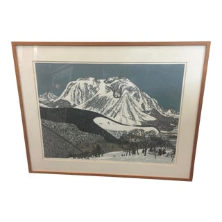 "Fumio Kitoka Woodblock Winter Scene ""Snowy Mountain"" Signed Limited Edition 1975 For Sale"