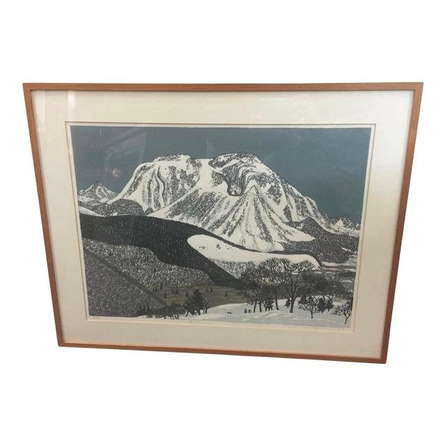 "Fumio Kitoka Woodblock Winter Scene ""Snowy Mountain"" Signed Limited Edition 1975 For Sale"