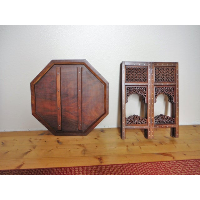 Gold Arabic Style Carved and Inlayed Table For Sale - Image 8 of 9