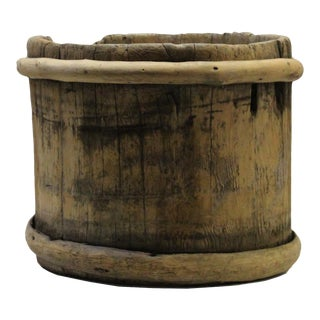 Chinese Vintage Wood Bamboo Bend Short Bucket For Sale