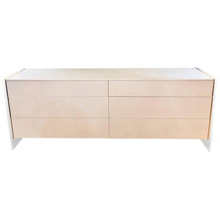 Mid-Century Modern White Dresser or Commode with Lucite Sides by John Stuart