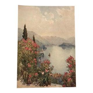 1905 Original Italian Print - Italian Travel Colour Plate - Villa Serbelloni, Lago DI Como For Sale