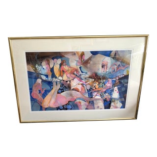 Original Vivid Abstract Watercolor Painting by Robert Carter For Sale