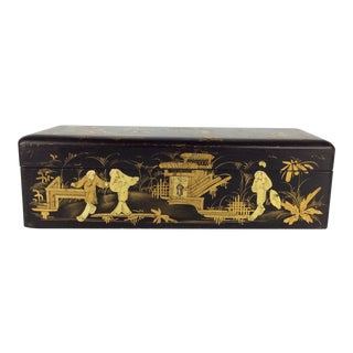 Antique Chinese Gold Gilt Decorated Black Lacquer Box